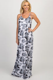 Grey White Floral Printed Maxi Dress