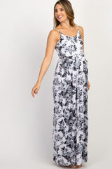 Grey White Floral Printed Maternity Maxi Dress