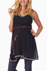 Black Embroidered Accent Rope Tie Maternity Tunic