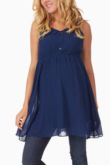 Navy Blue Chiffon Maternity Tunic