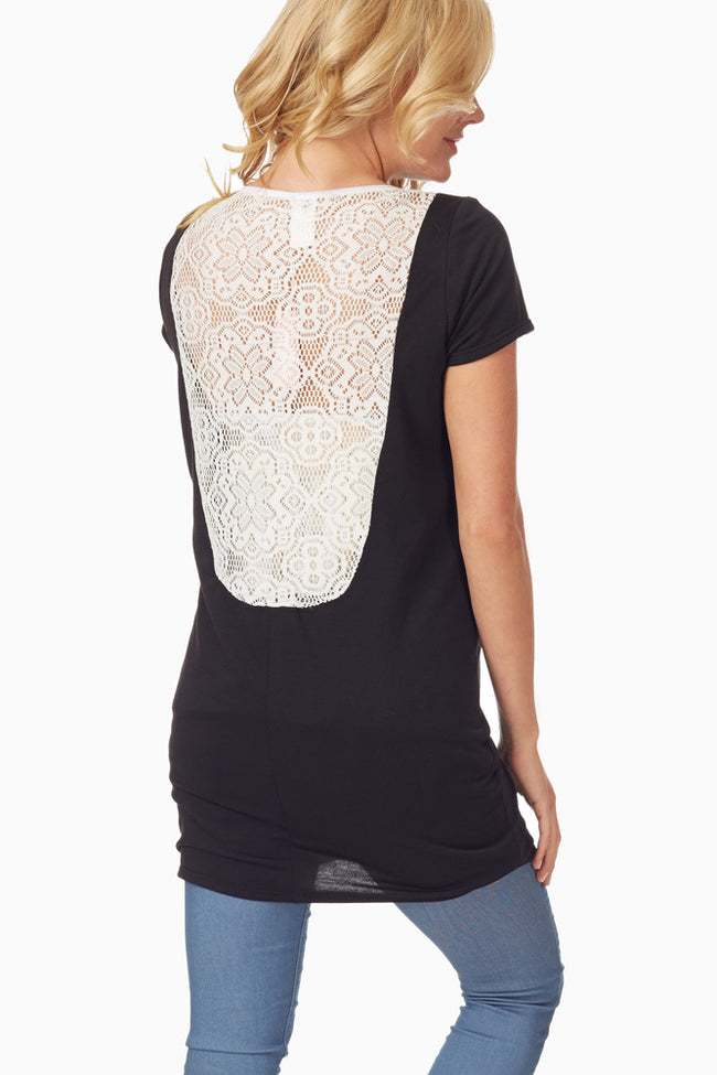 Black Crochet Back Maternity Top