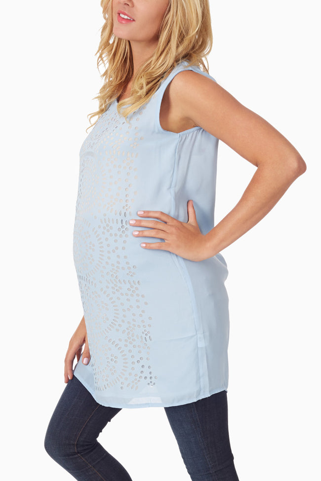 Light Blue Laser Cut Chiffon Maternity Tank Top