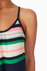 Navy White Green Pink Striped Tank Top