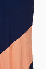 Navy Coral Chevron Colorblock Maternity Maxi Skirt