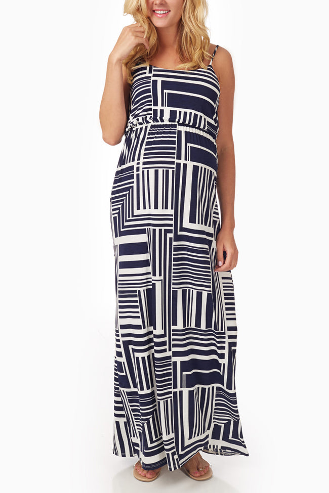 Navy Blue White Geometric Print Maternity Maxi Dress