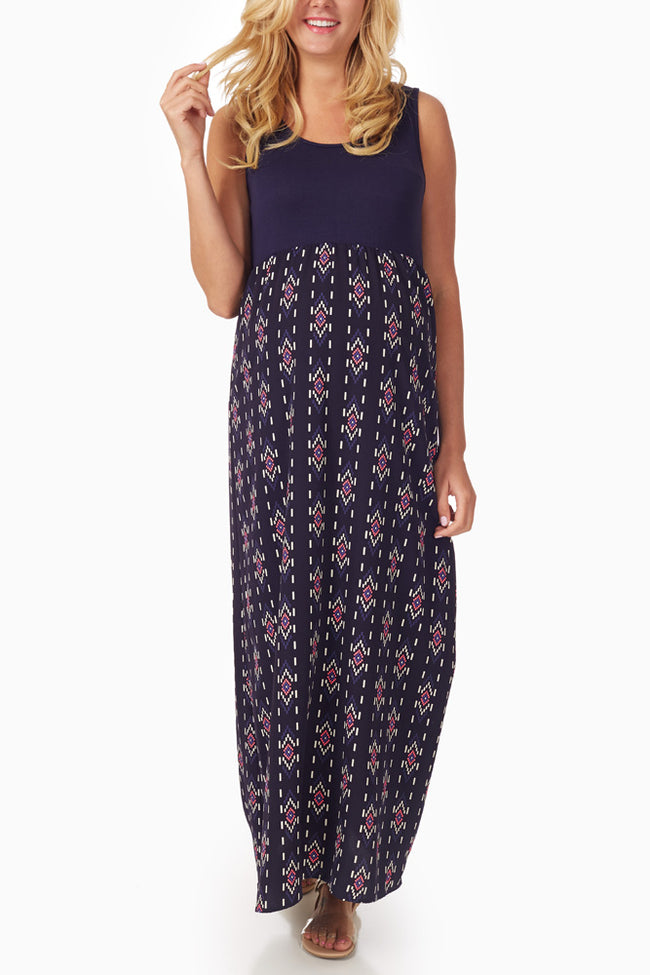 Navy Blue Tribal Printed Colorblock Maternity Maxi Dress