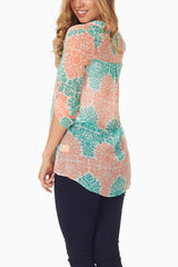 Peach Mint Green Printed Chiffon Blouse