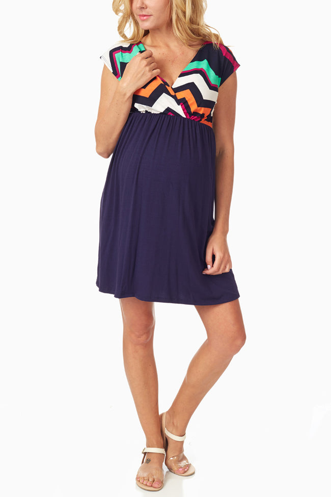 Multi-Colored Chevron Colorblock Maternity/Nursing Dress