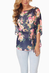 Navy Blue Floral Chiffon Top