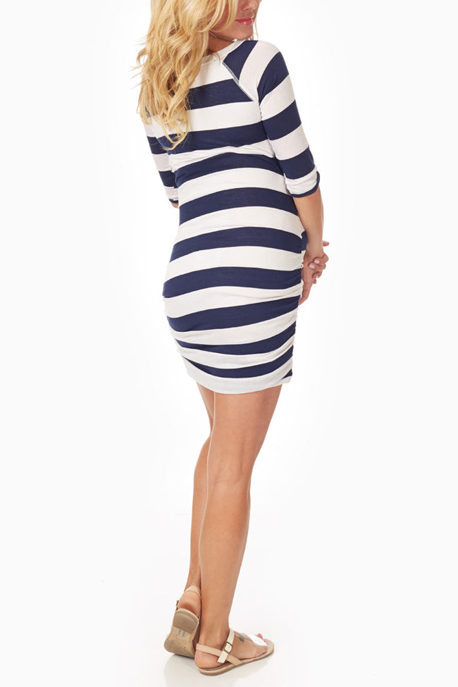 Navy Blue White Striped Fitted Maternity Dress