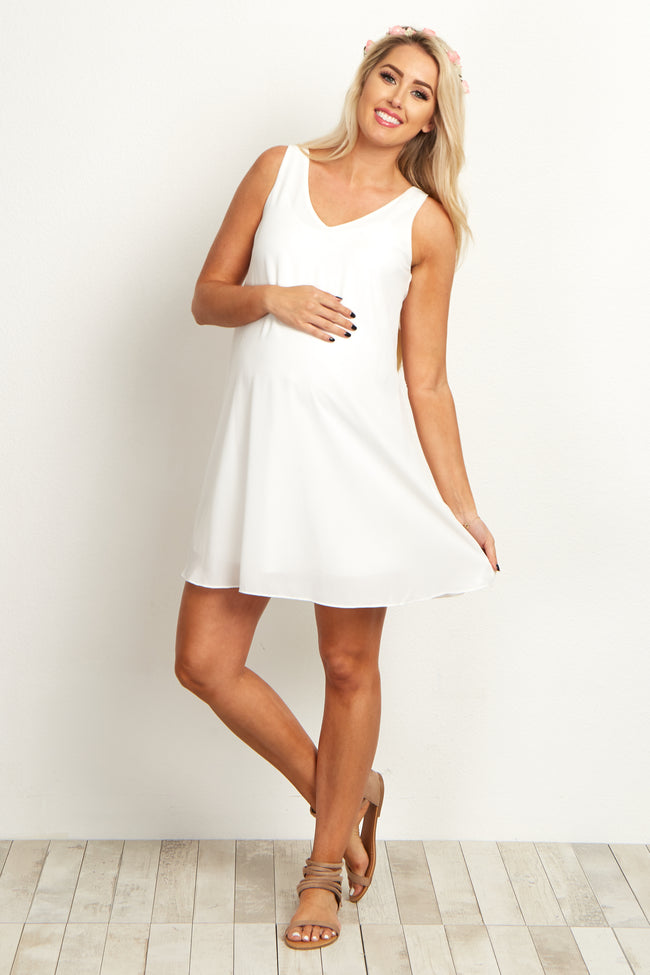 Basic White Chiffon Maternity Dress