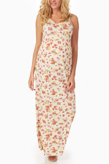 Cream Floral Print Maternity Maxi Dress
