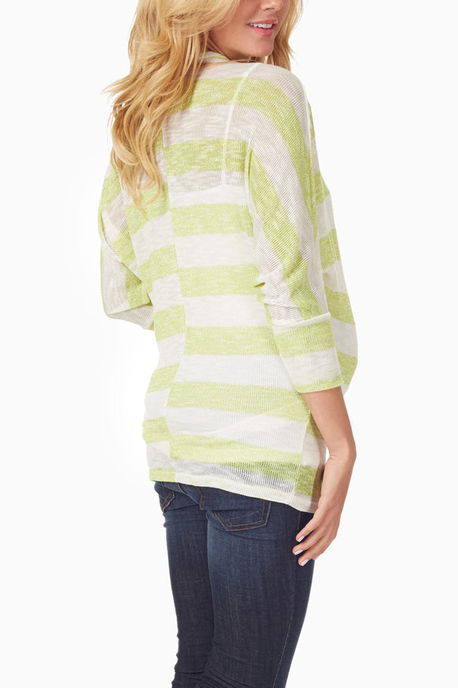 Neon Yellow White Striped Maternity Top
