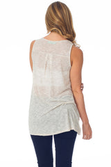 Beige Crochet Trim Tank Top
