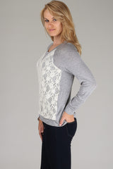 Grey Lace Panel Front Top