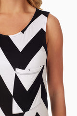 Black White Chevron Printed Maternity Tank Top