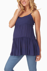 Navy Blue Layered Maternity Tank Top