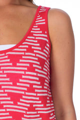 Red Geometric Printed Tank Top