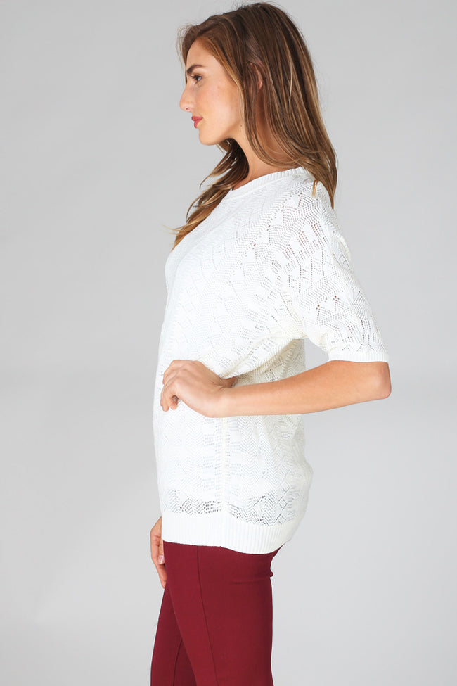 Ivory Textured Knit Short Sleeve Top