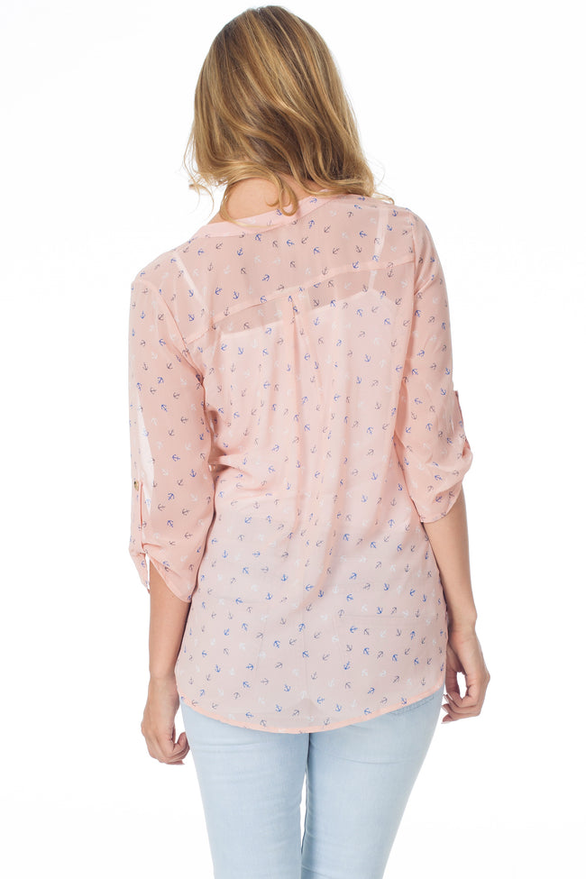 Pale Pink Anchor Printed Semi-Sheer Blouse