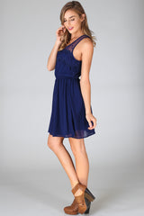 Navy Blue Scalloped Lace Dress