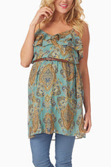 Jade Paisley Print Belted Maternity Tunic