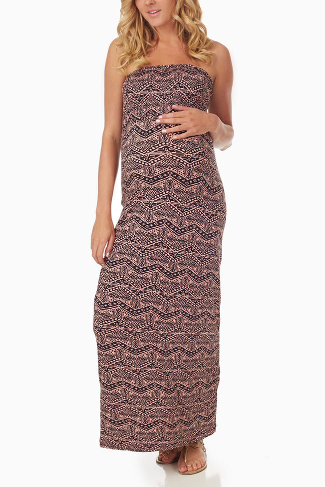 Pink Black Tribal Printed Maternity Maxi Dress