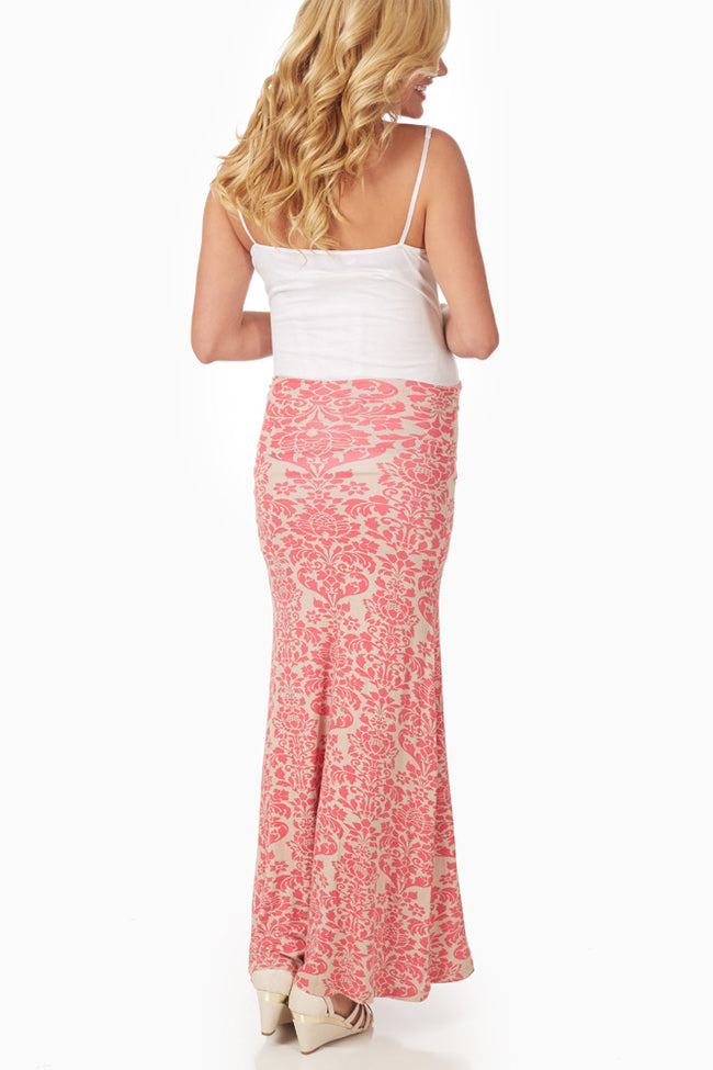 Coral Cream Printed Maternity Maxi Skirt