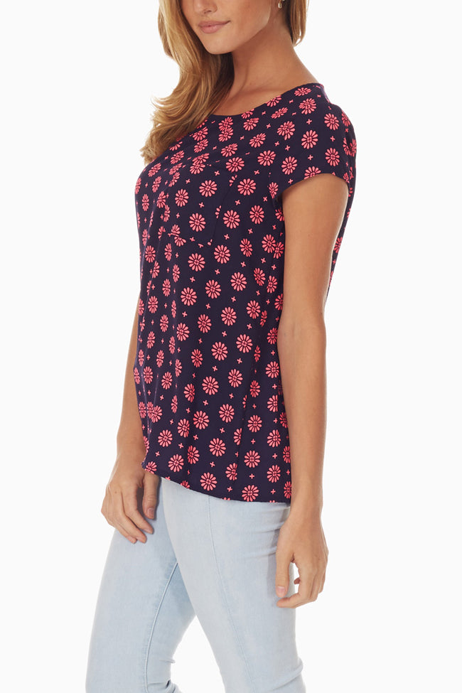 Black Pink Flower Printed Top