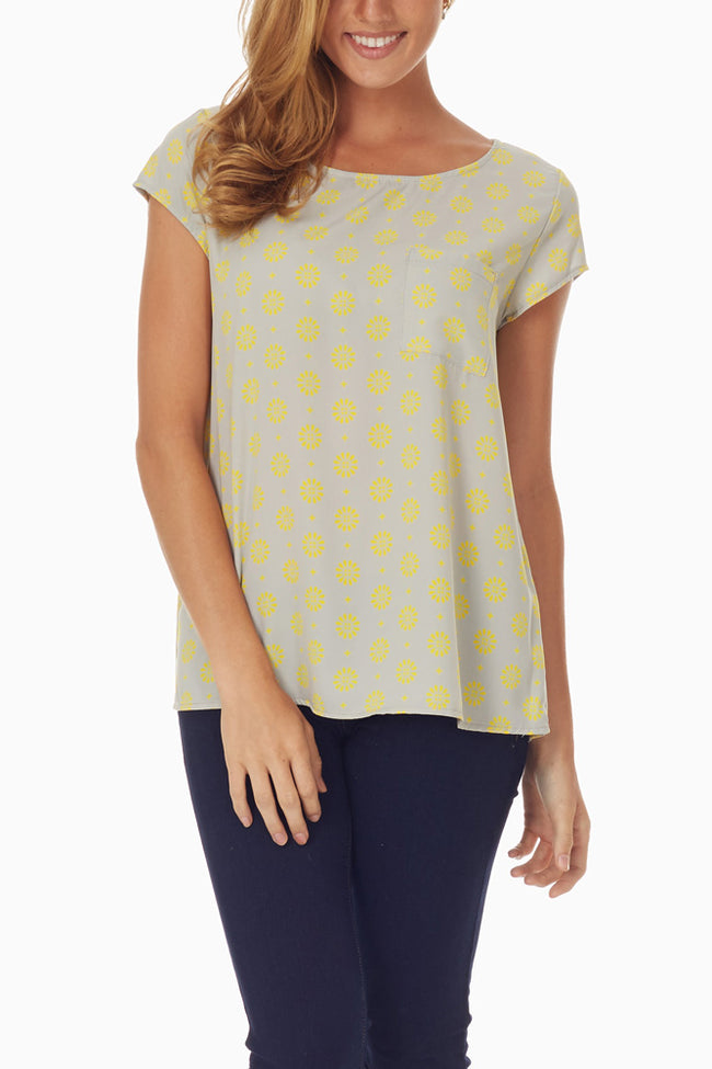 Grey Yellow Flower Printed Top