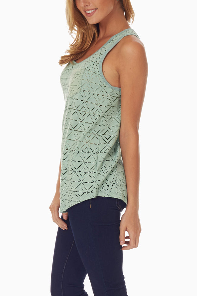 Mint Green Eyelet Knit Tank Top