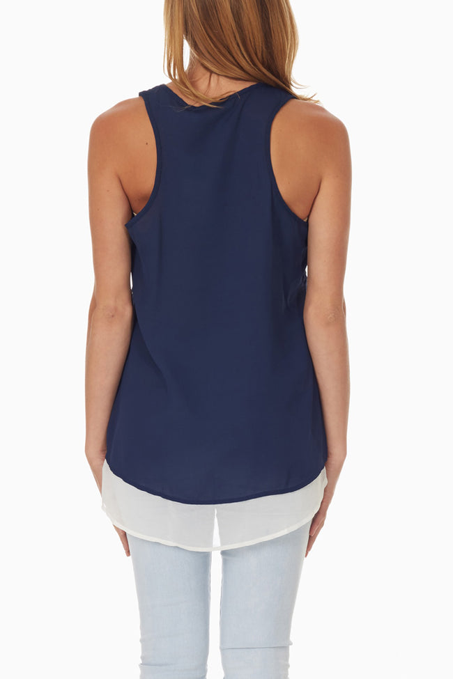 Navy Blue Laser Cut Tank Top