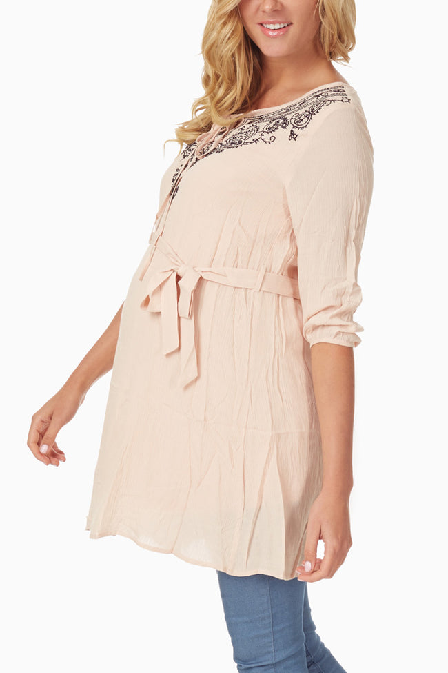 Pale Pink Embroidered Neckline 3/4 Sleeve Maternity Tunic