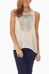 Ivory Black Embroidered Chiffon Tank Top