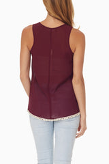 Burgundy Crochet Neckline Tank Top