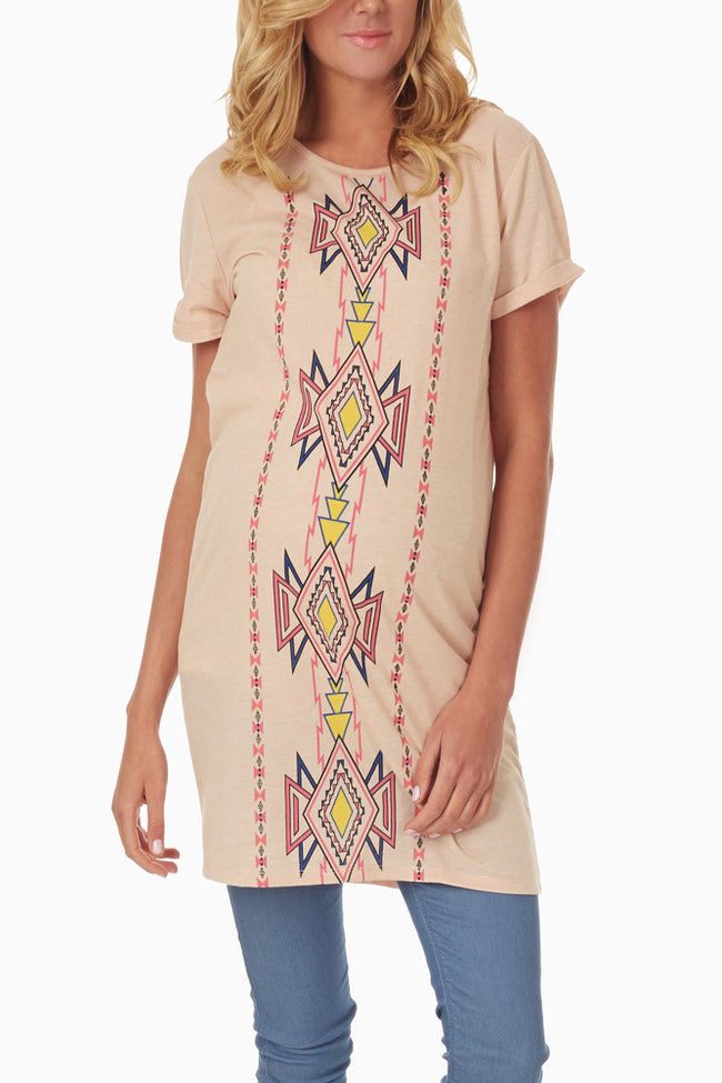 Pink Tribal Printed Maternity Tunic