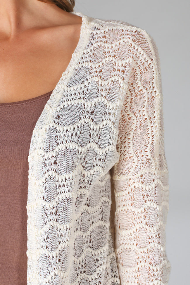 Cream Crochet Long Cardigan