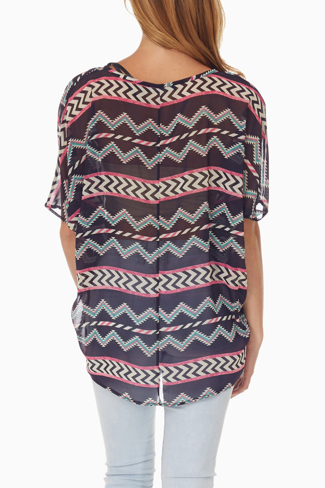 Navy Blue Tribal Printed Blouse