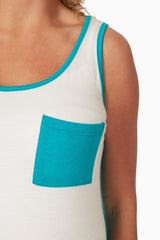 Jade White Colorblock Maternity Tank Top