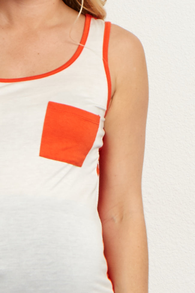 Rust White Colorblock Maternity Tank Top