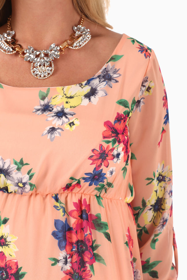 Peach Floral Print 3/4 Sleeve Maternity Dress