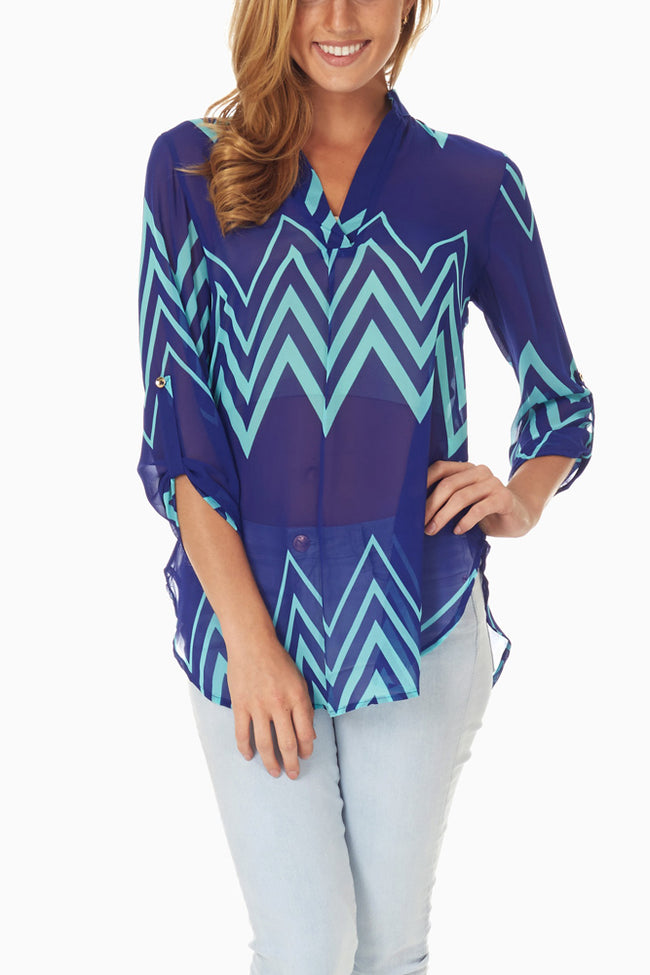 Royal Blue Mint Chevron Chiffon Blouse