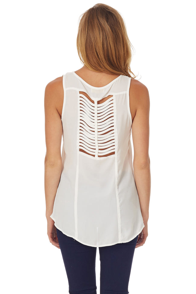 White Open Back Tank Top