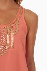Coral Gold Beaded Neckline Tank Top