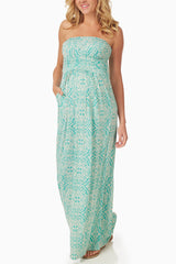Aqua Ivory Printed Strapless Maternity Maxi Dress
