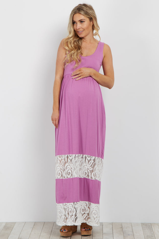 Purple Lace Colorblock Maternity Maxi Dress
