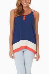 Navy White Coral Colorblock Crochet Back Tank Top