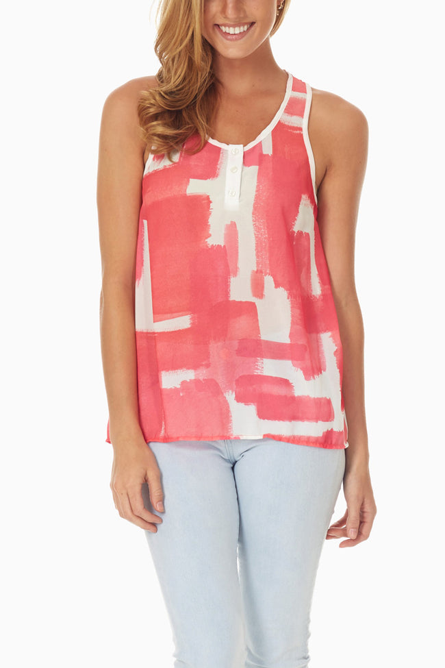 White Coral Abstract Printed Tank Top