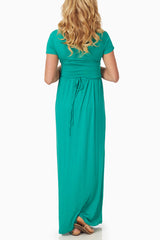 Mint Green Draped Accent Maternity/Nursing Maxi Dress