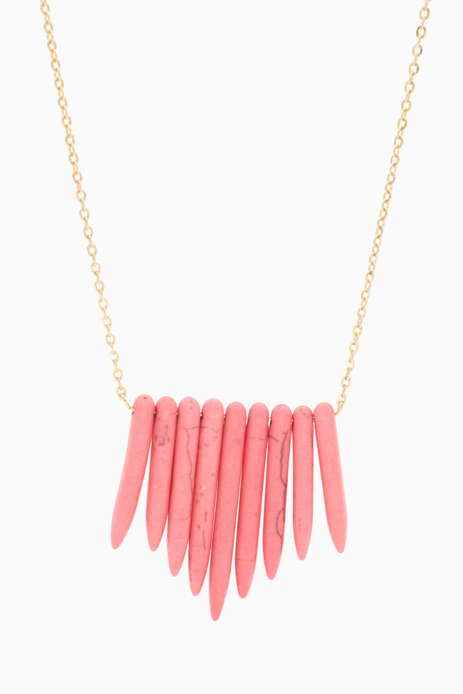 Pink Gold Long Stone Necklace